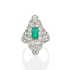 3.50ctw Art Deco Emerald and Old European Cut Diamond Dinner Ring 0