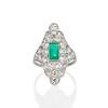 3.50ctw Art Deco Emerald and Old European Cut Diamond Dinner Ring 0