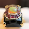 Art Deco Onyx and Harlequin Opal Dinner Ring 11