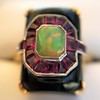 Art Deco Onyx and Harlequin Opal Dinner Ring 9
