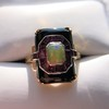 Art Deco Onyx and Harlequin Opal Dinner Ring 17