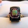 Art Deco Onyx and Harlequin Opal Dinner Ring 7
