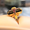 Art Deco Onyx and Harlequin Opal Dinner Ring 23