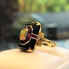 Art Deco Onyx and Harlequin Opal Dinner Ring 8