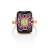 Art Deco Onyx and Harlequin Opal Dinner Ring 0
