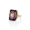 Art Deco Onyx and Harlequin Opal Dinner Ring 1