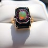 Art Deco Onyx and Harlequin Opal Dinner Ring 13