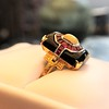 Art Deco Onyx and Harlequin Opal Dinner Ring 21