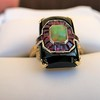 Art Deco Onyx and Harlequin Opal Dinner Ring 18