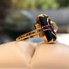 Art Deco Onyx and Harlequin Opal Dinner Ring 24
