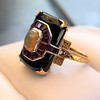 Art Deco Onyx and Harlequin Opal Dinner Ring 26