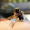 Art Deco Onyx and Harlequin Opal Dinner Ring 6