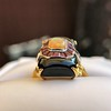 Art Deco Onyx and Harlequin Opal Dinner Ring 12