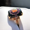 Art Deco Onyx and Harlequin Opal Dinner Ring 15