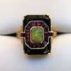 Art Deco Onyx and Harlequin Opal Dinner Ring 19