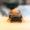 Art Deco Onyx and Harlequin Opal Dinner Ring 22
