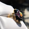 Art Deco Onyx and Harlequin Opal Dinner Ring 16