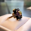 Art Deco Onyx and Harlequin Opal Dinner Ring 25