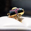 Art Deco Onyx and Harlequin Opal Dinner Ring 14