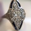 .83ctw Art Deco Transitional Cut Diamond & Sapphire Navette Ring 2