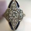 .83ctw Art Deco Transitional Cut Diamond & Sapphire Navette Ring 9