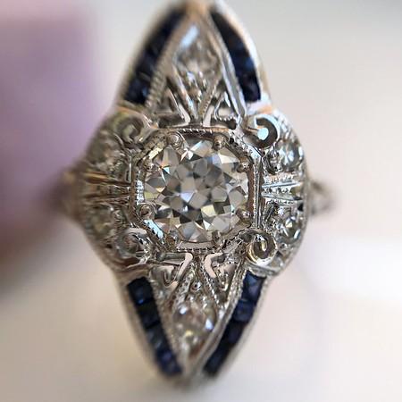 .83ctw Art Deco Transitional Cut Diamond & Sapphire Navette Ring
