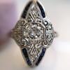 .83ctw Art Deco Transitional Cut Diamond & Sapphire Navette Ring 1
