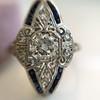 .83ctw Art Deco Transitional Cut Diamond & Sapphire Navette Ring 4