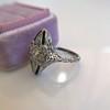 .83ctw Art Deco Transitional Cut Diamond & Sapphire Navette Ring 14