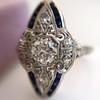 .83ctw Art Deco Transitional Cut Diamond & Sapphire Navette Ring 10