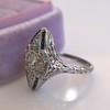 .83ctw Art Deco Transitional Cut Diamond & Sapphire Navette Ring 3