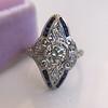 .83ctw Art Deco Transitional Cut Diamond & Sapphire Navette Ring 0