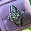 .83ctw Art Deco Transitional Cut Diamond & Sapphire Navette Ring 11