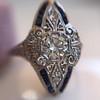 .83ctw Art Deco Transitional Cut Diamond & Sapphire Navette Ring 8