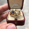 Diamond and Sapphire Double Serpent Ring 10