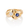 Diamond and Sapphire Double Serpent Ring 0
