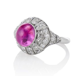 Edwardian Cabochon Burmese No-Heat Ruby Dome Ring, AGL