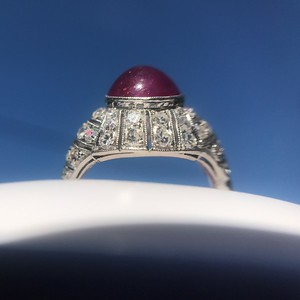 Edwardian Cabochon Ruby Dome Ring