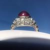 Edwardian Cabochon Burmese No-Heat Ruby Dome Ring, AGL 14