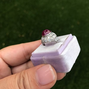 Edwardian Cabochon Burmese Ruby Dome Ring (No-heat, with AGL)