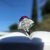 Edwardian Cabochon Burmese No-Heat Ruby Dome Ring, AGL 5