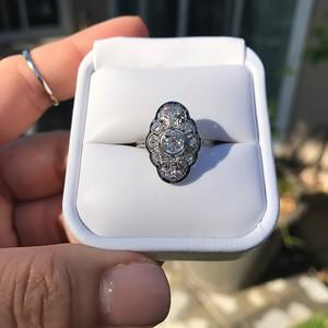 Edwardian Old European Cut Diamond Navette Frame Ring