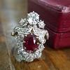 3.70tcw Edwardian Spinel & Old European Cut Diamond Dinner Ring 12