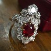 3.70tcw Edwardian Spinel & Old European Cut Diamond Dinner Ring 2