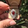 3.70tcw Edwardian Spinel & Old European Cut Diamond Dinner Ring 5