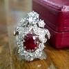 3.70tcw Edwardian Spinel & Old European Cut Diamond Dinner Ring 14