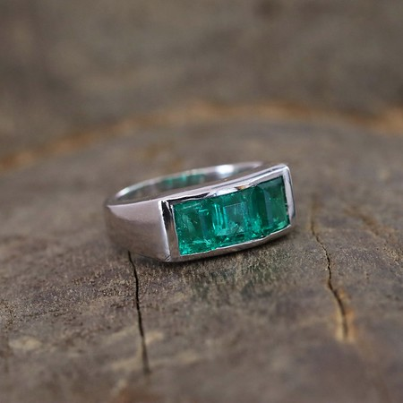 1.85ctw 3-Stone Emerald Gypsy Ring