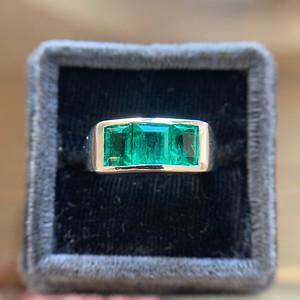 1.85ctw 3-Stone Emerald Gypsy Ring