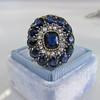 4.55ctw Victorian-era Sapphire and Rose Cut Diamond Ring 20