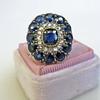 4.55ctw Victorian-era Sapphire and Rose Cut Diamond Ring 14